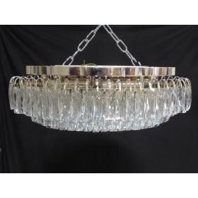 Lustre Clássico de Cristal Transparente com Estrutura Redonda em Metal Rose Gold 3 Lâmpadas - Frontier