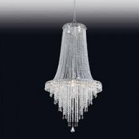 Lustre Imperial de Cristal Transparente e Estrutura em Metal Cromo 24 Lâmpadas - Old Artisan