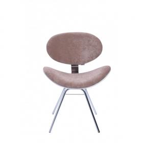 Cadeira Decorativa Bella Base Fixa Marrom com Fundo Branco