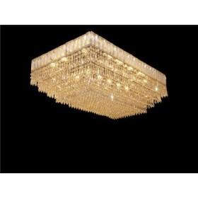 Plafon de Cristal Transparente Base Retangular em Banho Cromo 14 Lâmpadas - Frontier