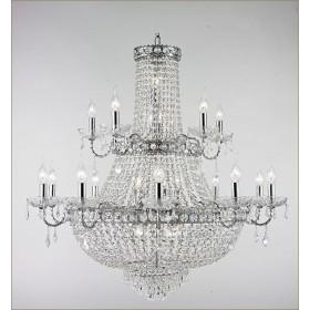 Lustre Imperial Cromado com Cristais Transparentes 15 Braços - Tupiara