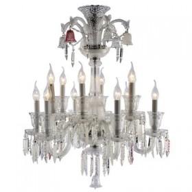 Lustre Borgheze Cristal Metal Cromado Transparente 12 Braços - Pier