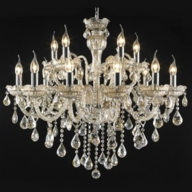 Lustre Candelabro de Cristal Conhaque Estilo Maria Thereza 15 Lâmpadas +Luz Iluminação