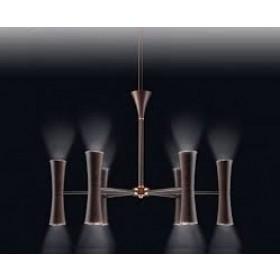 Pendente Moderno com Tubos Cônicos Estrutura Cor Ferrugem 12 Lâmpadas - Old Artisan