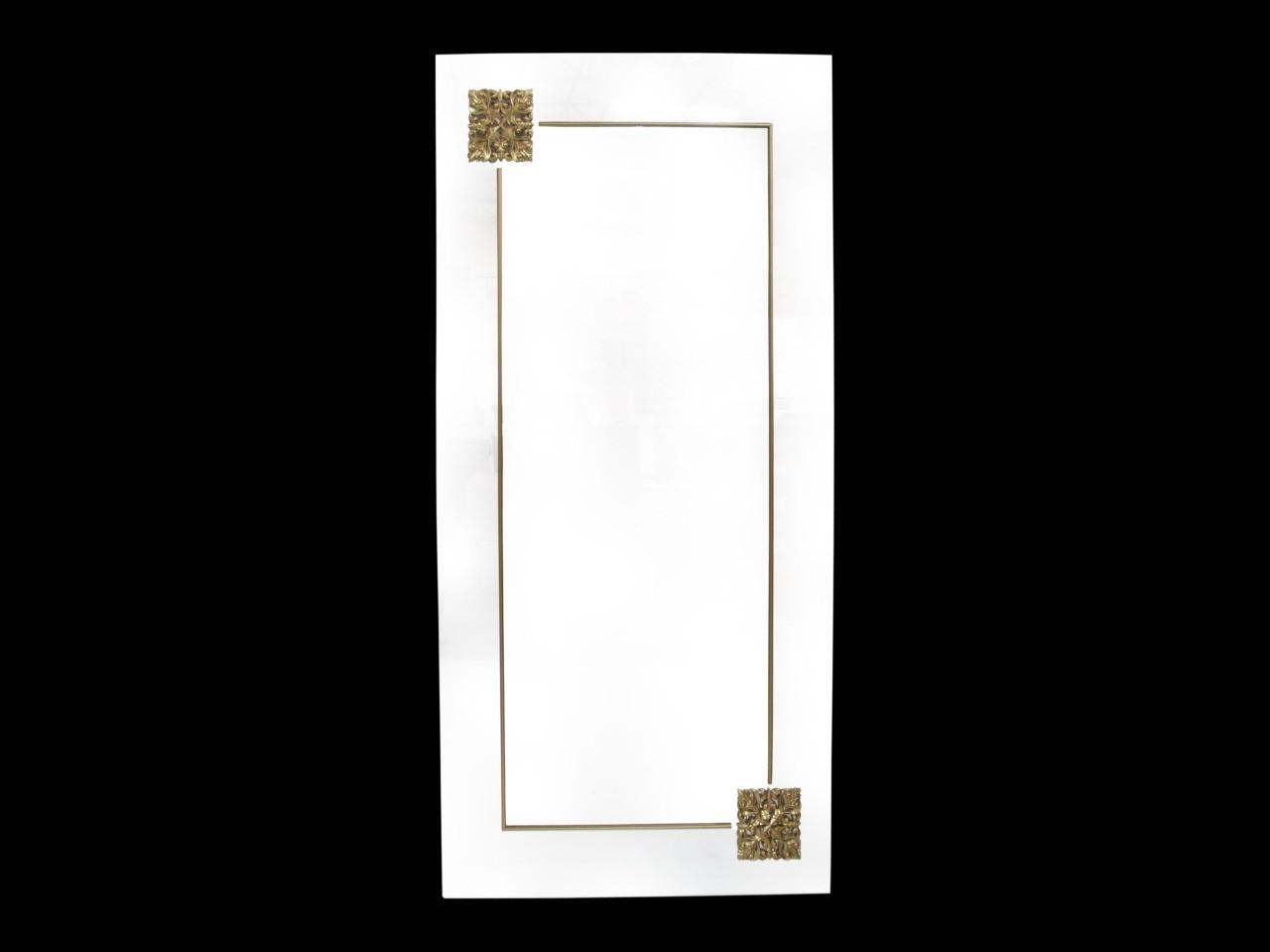 Espelho Retangular Branco Com detalhe Dourado- Frontier