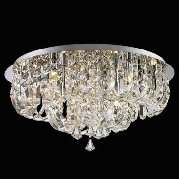 Plafon de Cristal Transparente de Aço Cromado 9 Lâmpadas +Luz Iluminição
