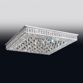 Plafon Modero de Cristal Transparente e estrutura Quadrada de Aço Cromado 32 Lâmpadas - Old Artisan