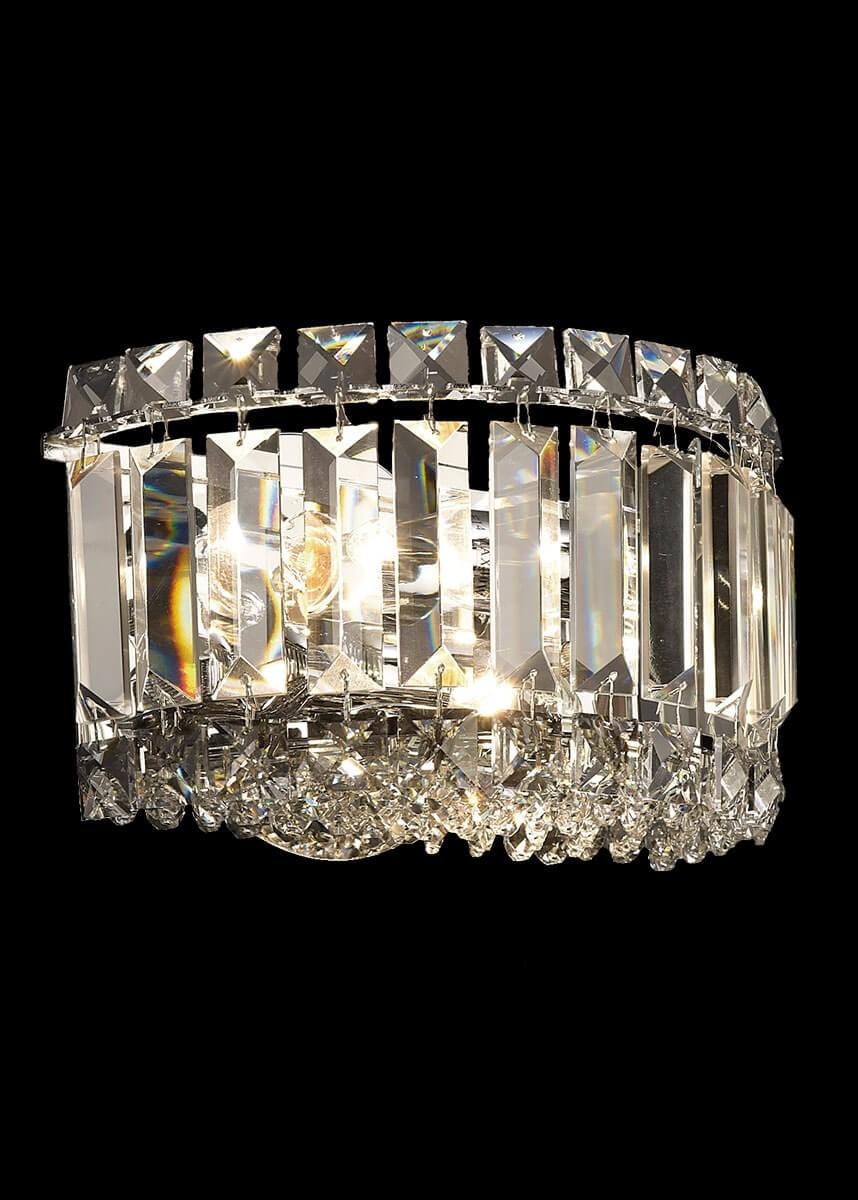Arandela de Metal Cristal Cromado Transparente 2 lâmpadas Bes - Mantra