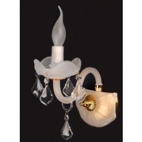 Arandela Branca com Cristais Transparentes Frost e Acabamento em Dourado 1 Lâmpada Piemonte - Sigma