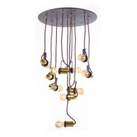 Plafon Moderno Fio Cobre Vertical Com Base Preta 10 Lâmpadas - Old Artisan