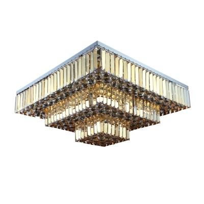 Plafon de Cristal Âmbar 13 Lâmpadas Carre - Bella