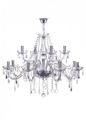 Lustre de Cristal Maria Thereza Transparente 12 Lâmpadas