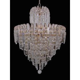 Lustre Clássico de Cristal Transparente com Estrutura em Metal Dourado 7 Lâmpadas - Frontier