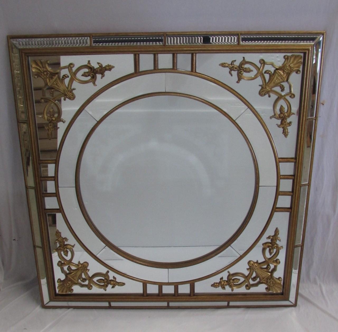 Espelho Quadrado Com Redondo Com Detalhes Dourados - Frontier