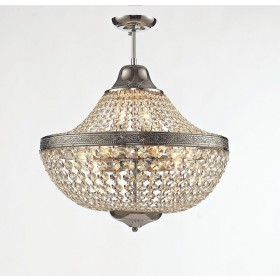 Lustre Royal Metal Cromado com Cristais Transparentes 11 Braços sem Corrente -Tupiara