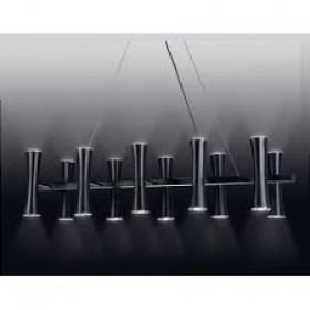 Pendente Moderno com Tubos Cônicos Estrutura Preta 10 Lâmpadas - Old Artisan