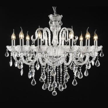 Lustre Candelabro de Cristal Estilo Maria Thereza Transparente 10 Lâmpadas +Luz Iluminação