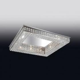Plafon de Cristal Transparente e estrutura Quadrada de Aço Cromado 8 Lâmpadas - Old Artisan