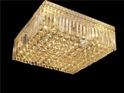 Plafon de Cristal Transparente Base Quadrada em Banho Cromo 12 Lâmpadas - Frontier