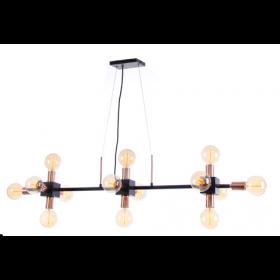 Pendente Moderno Estrutura Preto Com Cobre 14 Lâmpadas - Old Artisan