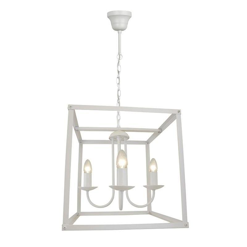 Pendente Quadrado de Metal Branco 4 Lâmpadas - Premier