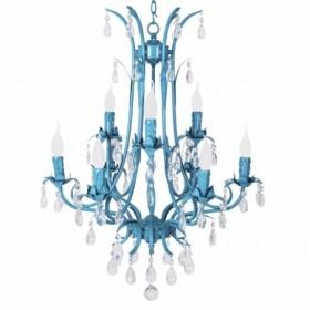 Lustre de Cristal de 9 Braços Livorno com Acabamento Aço Azul - Sigma Lux
