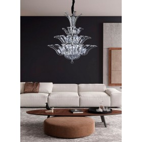 Lustre de Cristal Metal Cromado Transparente 17 lâmpadas Napoli - Mantra
