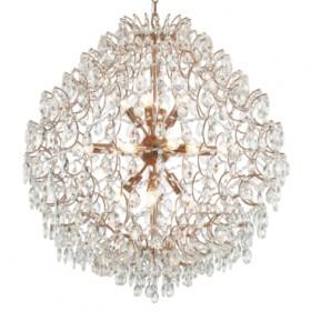 Pendente Pear de Aço Ouro Rosé e Cristais 16 Lâmpadas +Luz Iluminação