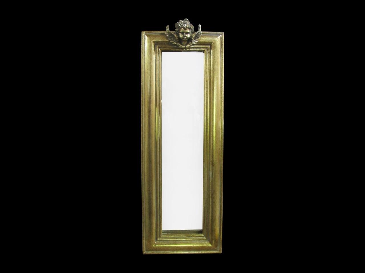 Espelho Retangular Grande Dourado Com detalhe de anjo - Frontier