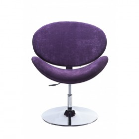 Poltrona Decorativa Designchair Flora Base Disco Cromada Roxa