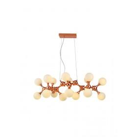 Pendente Moderno Átomo Cúpula de Vidro Leitoso e Estrutura Ouro Rose 18 Lâmpadas