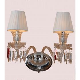 Arandela Candelabro de Cristal Baccarat 2 Lâmpadas Branca com Cúpula