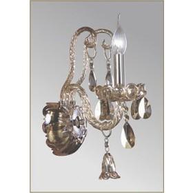 Arandela Buckingham em vidro Champanhe e Cristais 1 Braço - Tupiara