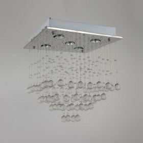 Plafon De Cristal Aço Inox 5 Lâmpadas OR