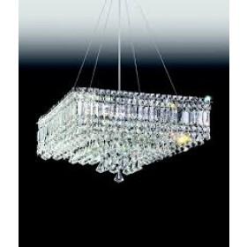 Pendente Moderno de Cristal Transparente Estrutura Quadrada 9 Lâmpadas - Old Artisan