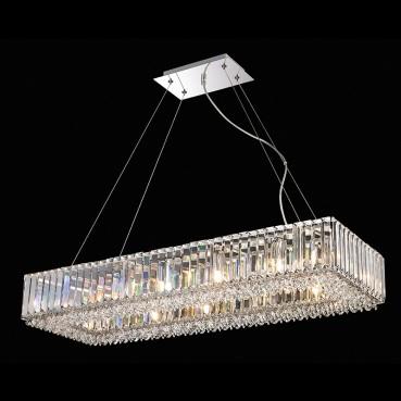 Pendente de Cristal Translúcido de Aço Cromado 12 Lâmpadas +Luz Iluminição