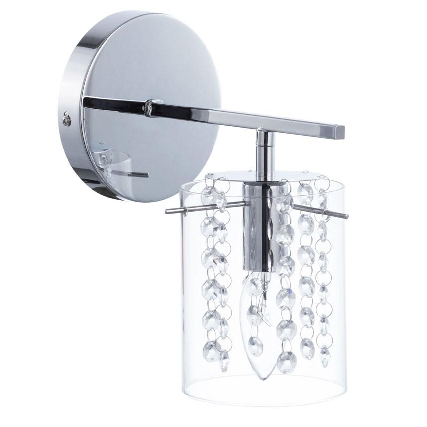 Arandela com Cúpula de Vidro e Cristal Transparente 1 Lâmpada SC