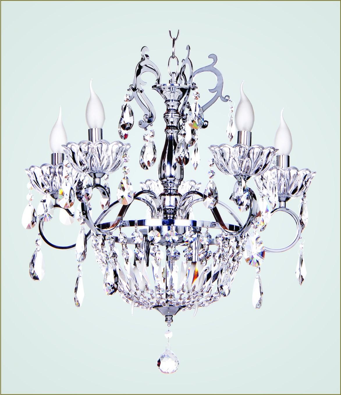 Lustre de Metal Cromado e Cristais Transparentes 5 Lâmpadas E14 Alexandra - Tupiara