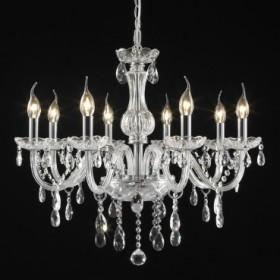 Lustre Candelabro Maria Thereza com Cristal Transparente 8 Lâmpadas +Luz Iluminação