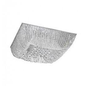 Plafon Moderno de Cristal Transparente e estrutura Quadrada de Aço Cromado 14 Lâmpadas - Old Artisan