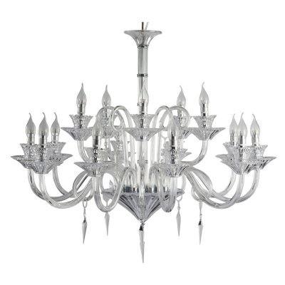 Lustre Duport Cristal Transparente Metal Cromado 15 Lâmpadas -Pier