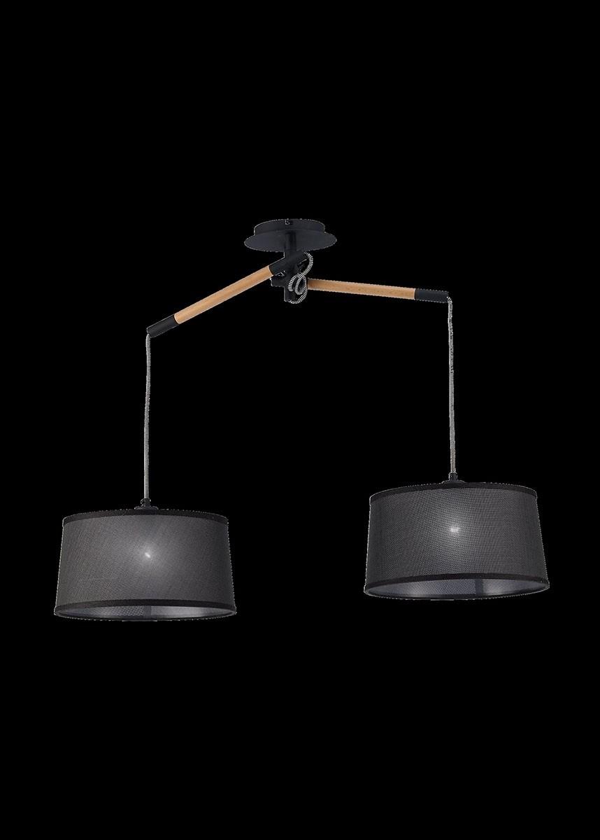 Pendente de Metal Madeira PVC Preto 01 lâmpada Nordica Mantra