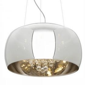 Pendente Moderno com Cúpula de Vidro Espelhado Cromado Cristal Transparente 5 Lampadas - JLR