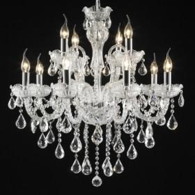 Lustre Candelabro de Cristal Transparente Estilo Maria Thereza 12 Lâmpadas +Luz Iluminação