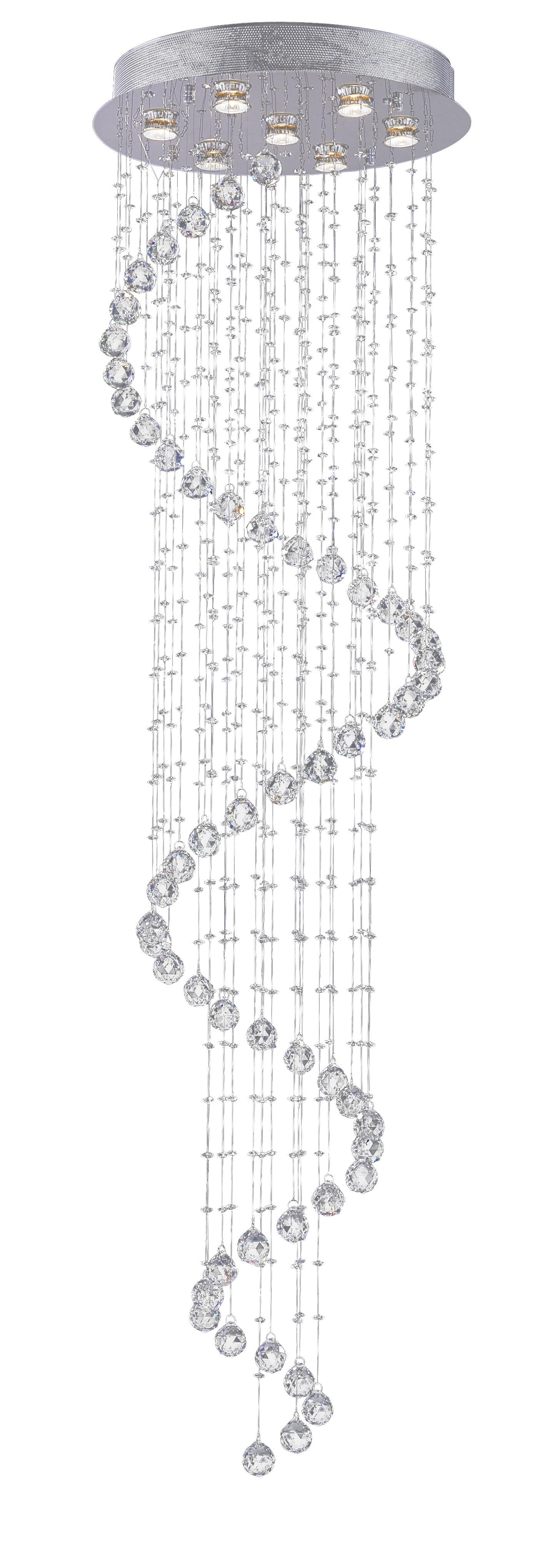 Plafon de Cristal Com Base em Aço Inox 7 Lampadas FI