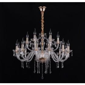 Lustre Candelabro de Cristal Transparente Estilo Maria Thereza 18 Lampadas - Tupiara