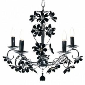 Lustre Padova com Flores em Cristal Preto 5 Braços Estrutura de Ferro Cromado - Sigma Lux