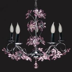 Lustre Padova com Flores em Cristal Rosa 5 Braços Estrutura de Ferro Cromado - Sigma Lux