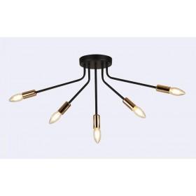 Pendente Metal Preto Dourado 5 Lâmpadas - Sindora