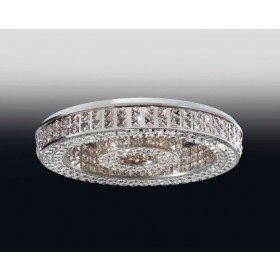 Plafon Aliança de Cristal Transparente e estrutura Redonda de Aço Cromado 29 Lâmpadas - Old Artisan